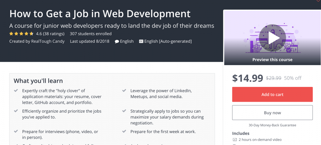 How to Get a Job in Web Development landing page