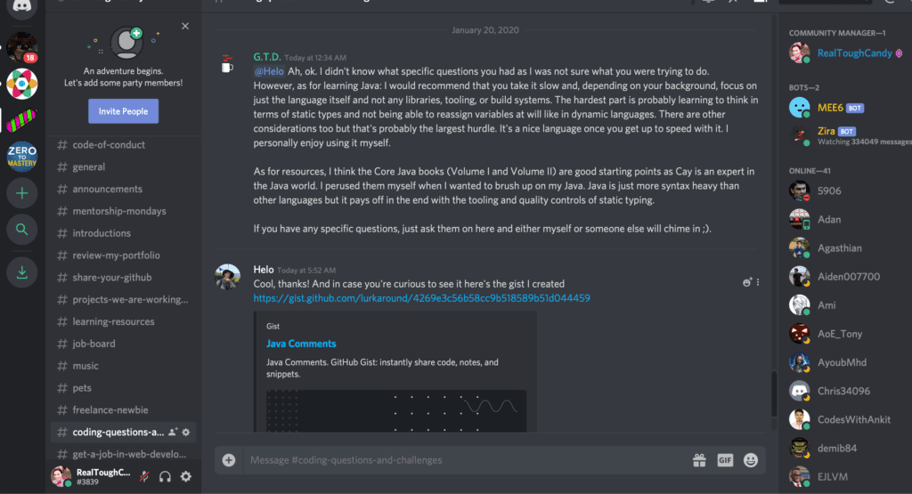 Real Tough Candy Discord screenshot of room