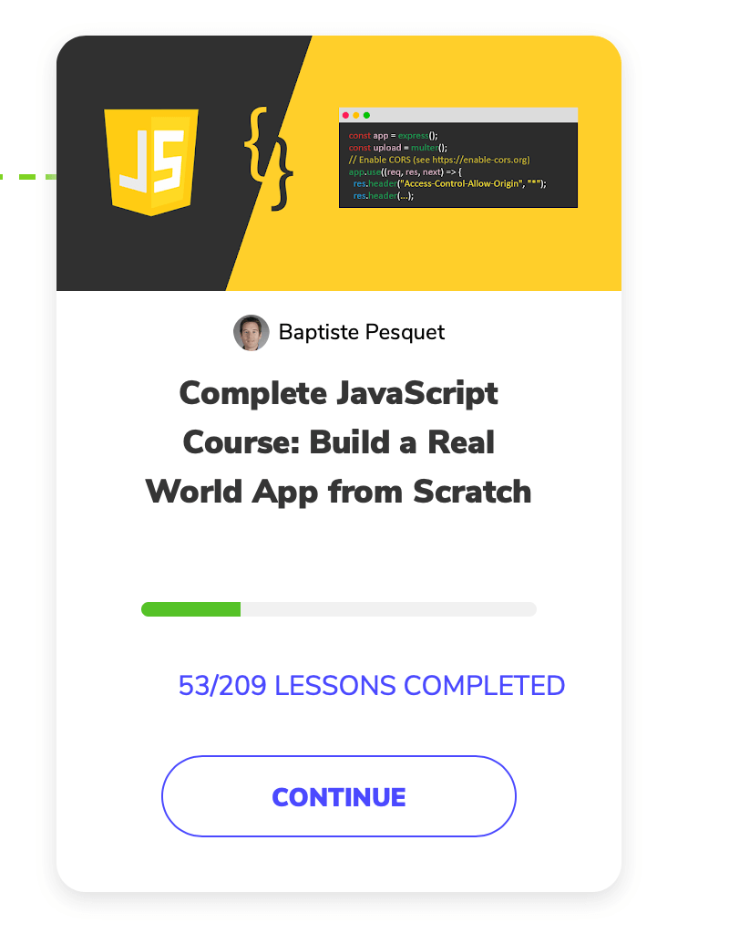 Screenshot of Complete JavaScript Course build a real world app from scratch from Front End Developer course on educative