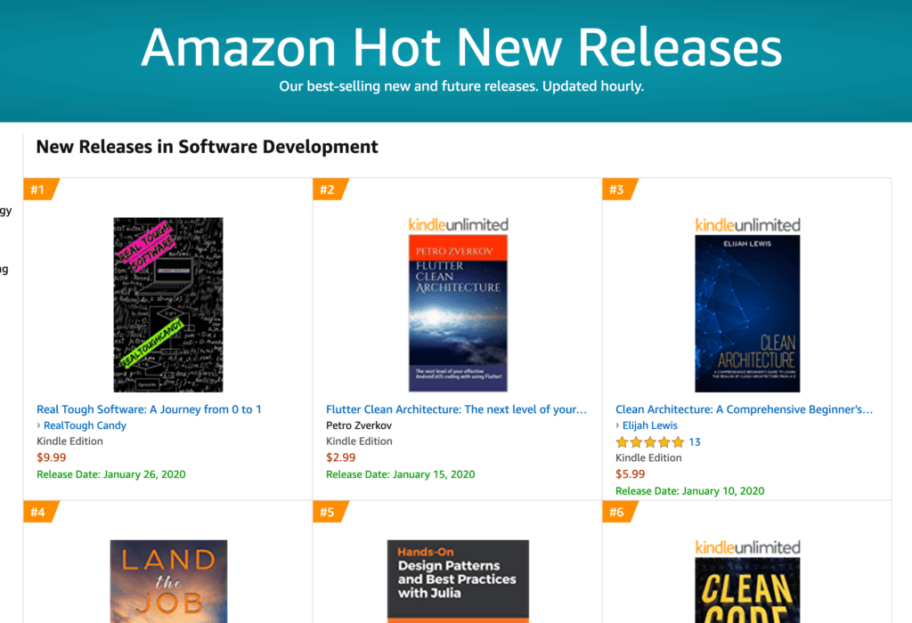 Amazon Hot New Releases with Real Tough Software at number one position