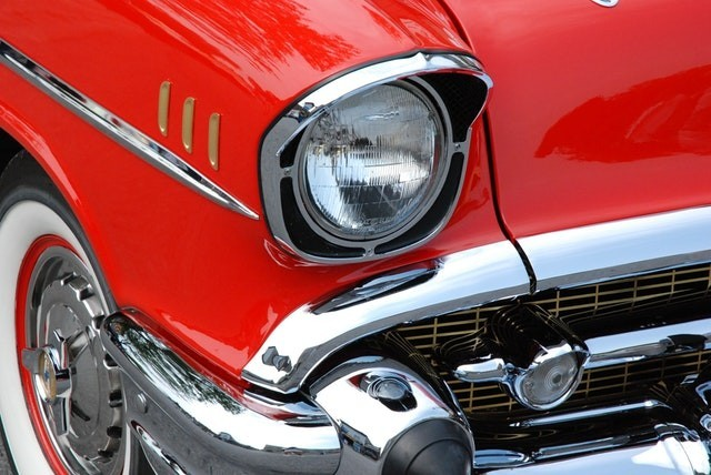 Closeup of red 1957 Chevy