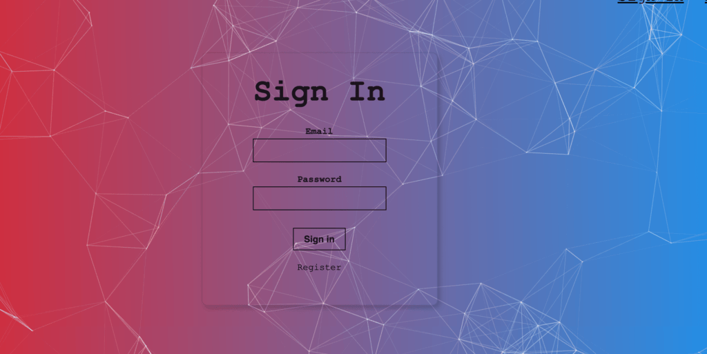 Login Page for Machine Learning project from The Complete Web Developer in 2020 by Andrei Neagoie