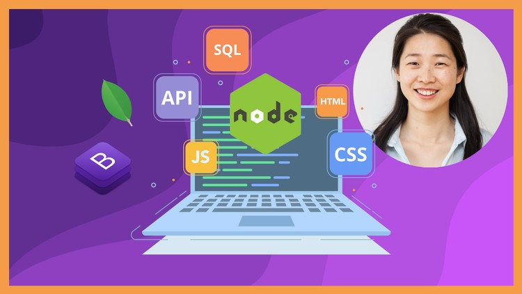 Udemy course creator Angela Yu next to a laptop computer with various web technologies like SQL Node HTML CSS Bootstrap and JavaScript