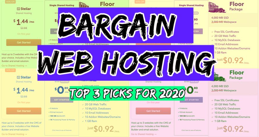 collection of screenshots from the cheapest web hosting plans pricing pages
