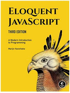 book cover with peacock of Eloquent JavaScript 3rd Edition by Marijn Haverbeke