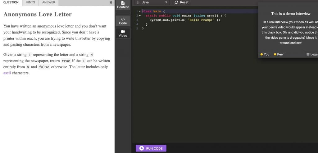 Pramp Interview Practice with interactive code editor