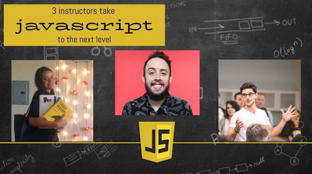 three advanced javascript concepts course instructors stand side by side