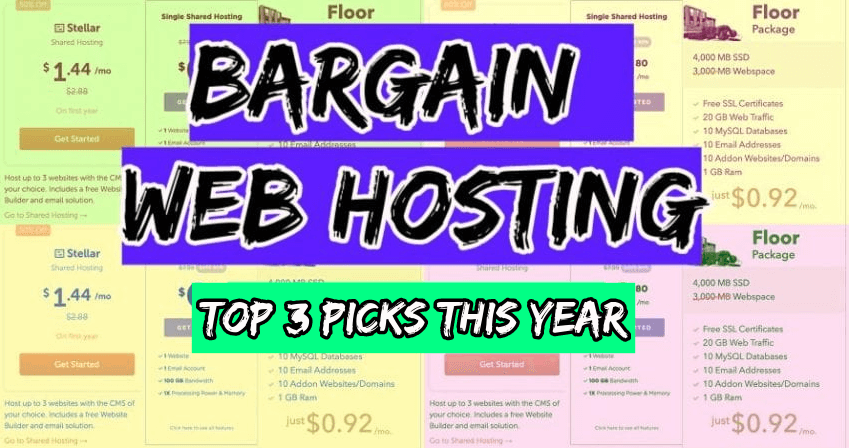 bargain web hosting top 3 picks this year with subscription plans in background