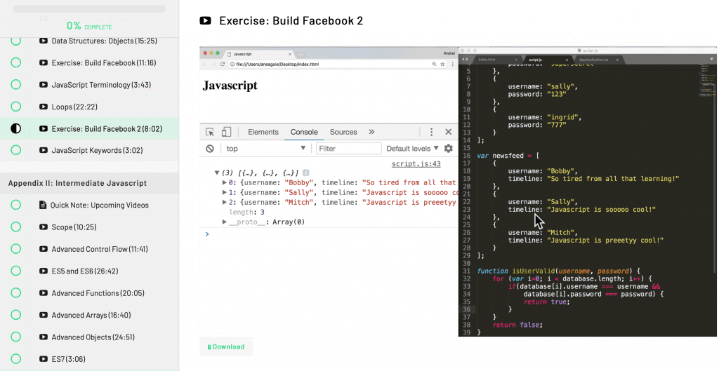 coding JavaScript in the console inside the course Advanced JavaScript Concepts by andrei neagoie