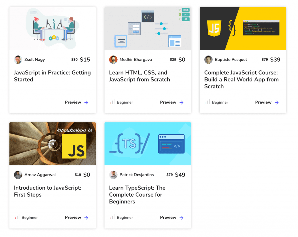 a collection of various javascript courses on educative