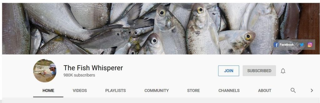 banner of fish with profile pic of man petting fish