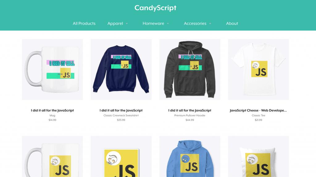 photo of web developer clothing items including mug, sweatshirt, pillow and t-shirt