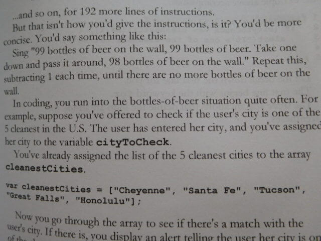 "excerpt from A Smarter Way to Learn JavaScript using ""99 Bottles of Beer"" as an example of for loops"