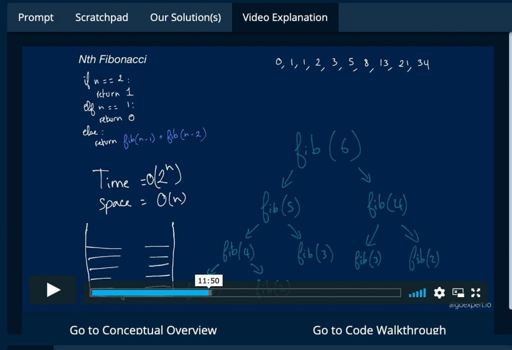AlgoExpert control panel with video explanation of Nth Fibonacci
