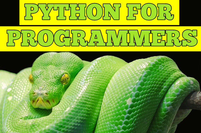 green python folded over on itself with text reading Python for Programmers