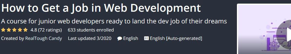 How to Get a Job in Web Development header on Udemy
