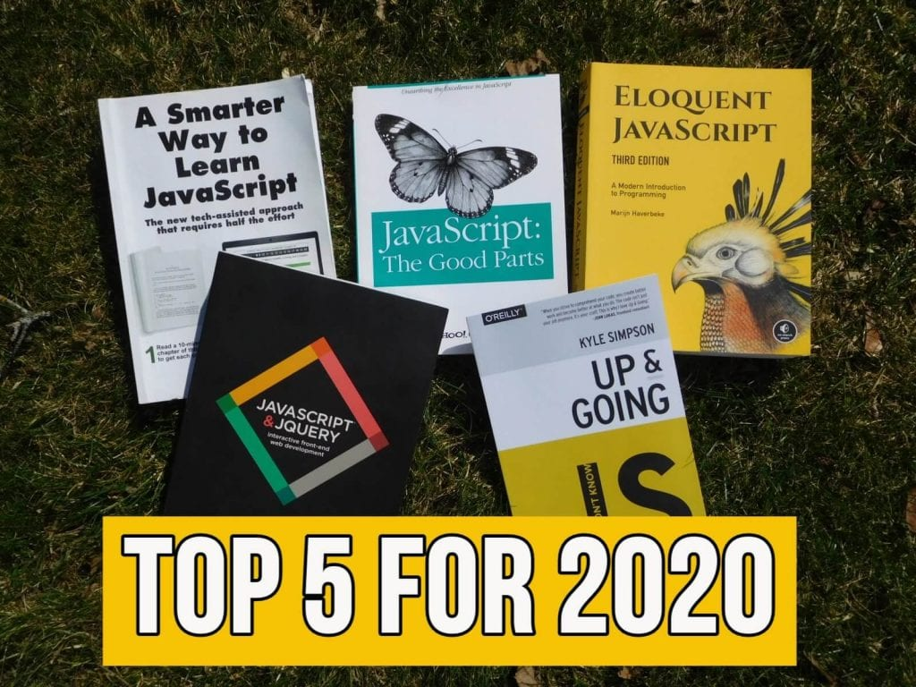 "5 top rated books about JavaScript with text ""top 5 for 2020"""