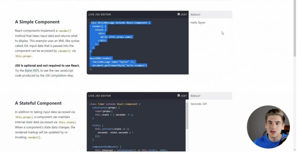 a simple react component next to a stateful component in a code editor from learn react today.