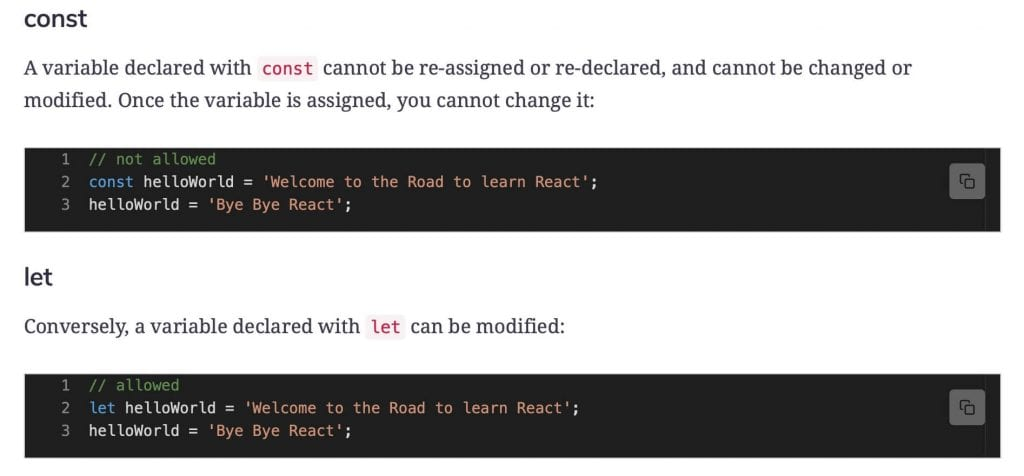 code editors showing the difference between JavaScript const and let