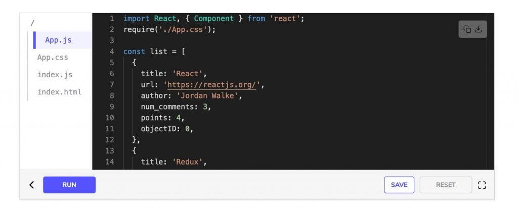 JSX code snippet from one of the best react courses for beginners on educative