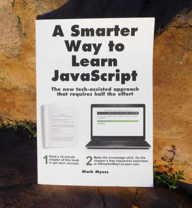 cover of A Smarter Way to Learn JavaScript by Mark Myers with a rock background