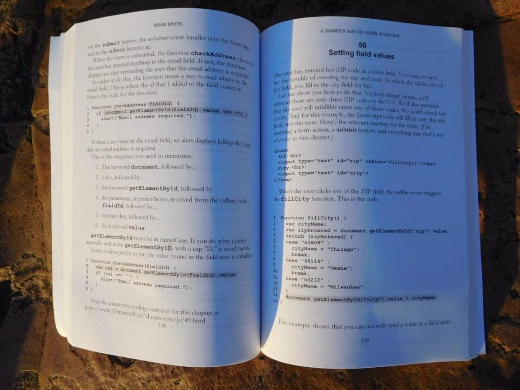 Chapter 50: Setting field values open book A Smarter Way to Learn JavaScript by Mark Myers