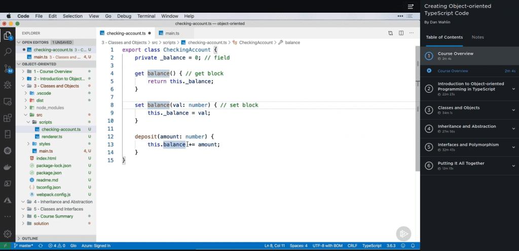 user interface for Pluralsight intermediate TypeScript courses