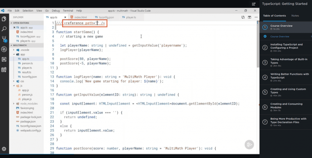 student coding layout for Pluralsight TypeScript courses