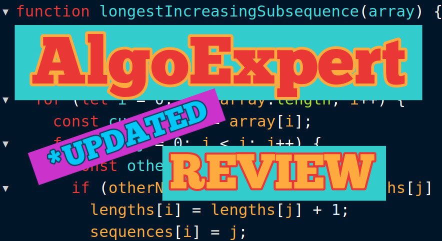 code background with front text reading AlgoExpert review updated