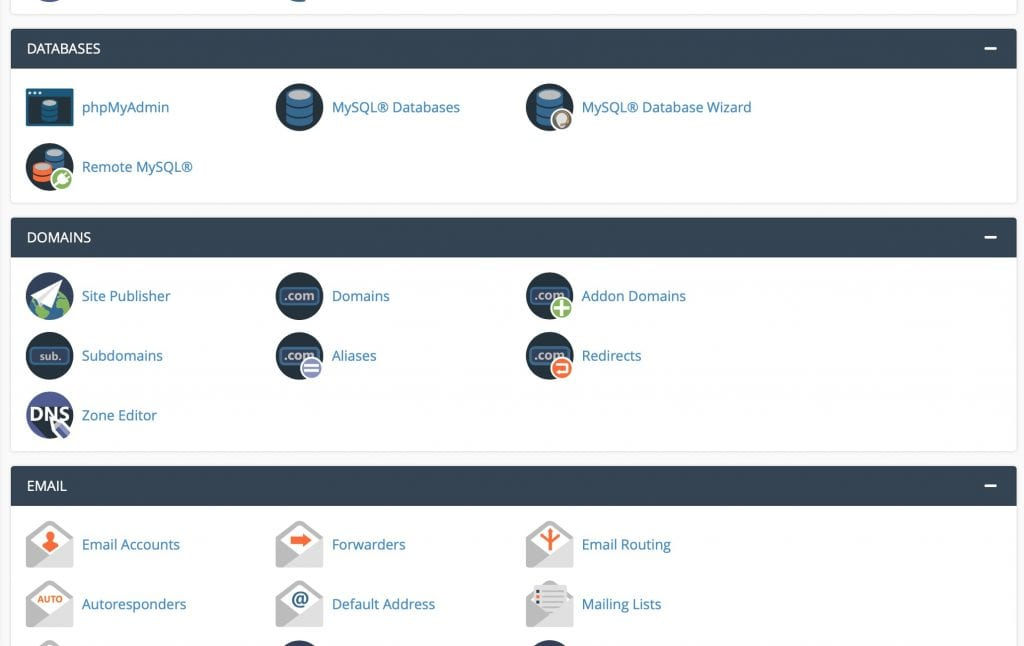 cpanel from namecheap featuring sections for databases, domains, email and other best php hosting options
