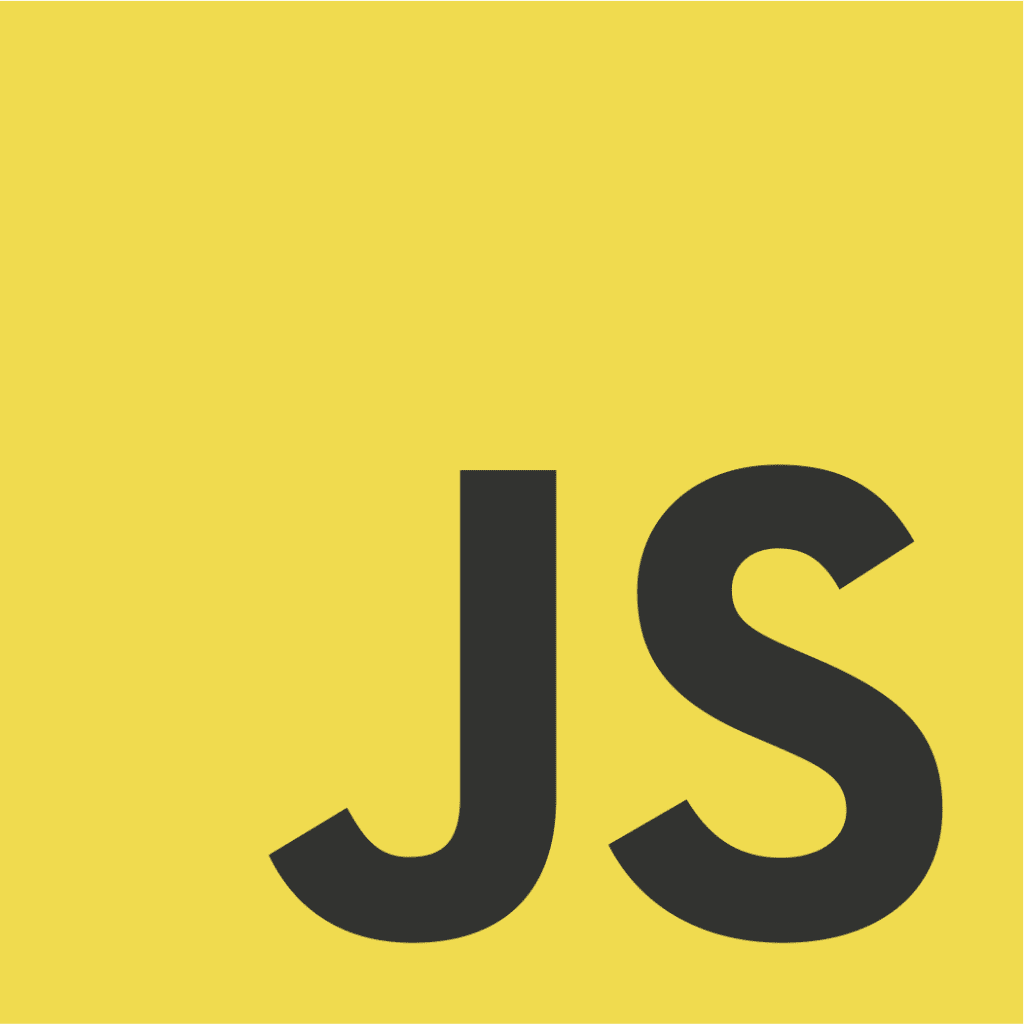 JavaScript logo, yellow background with letters JS in bottom right hand corner