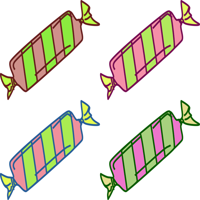 RealToughCandy.io logo featuring four pieces of wrapped candy in bright green and pink