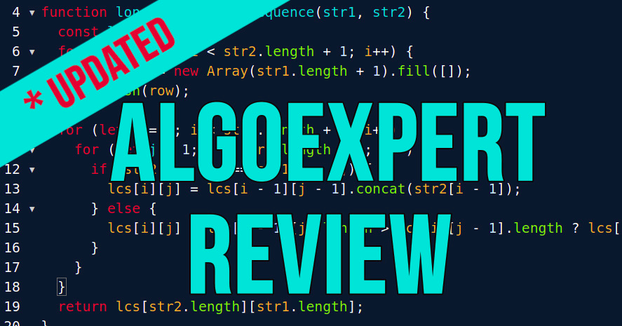 Text in sky blue *Updated AlgoExpert Review with code lines in background