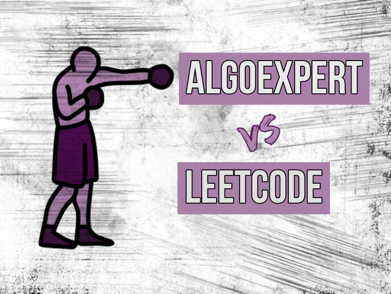 purple cartoon boxer with text AlgoExpert vs LeetCode