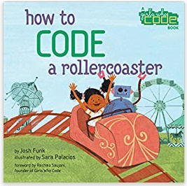How to Code a Rollercoaster in purple and green with cartoon of girl and robot on coaster