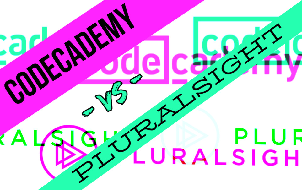 Codecademy vs Pluralsight black letters with seafoam highlight over Codecademy vs Pluralsight logos