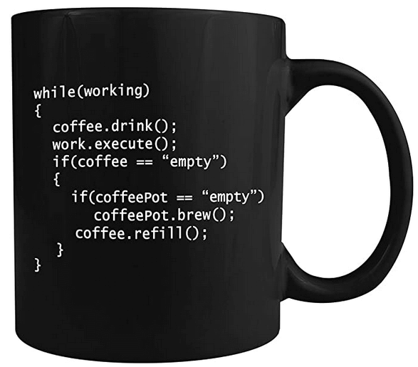black coffee mug with code in white about drinking coffee while working