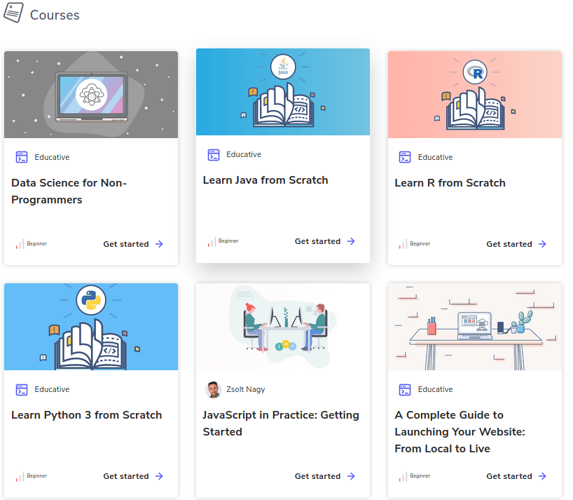 6 courses and thumbnails on Educative platform