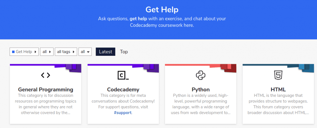 Get Help forum page with four panels of topics General Programming, Codecademy, Python, HTML