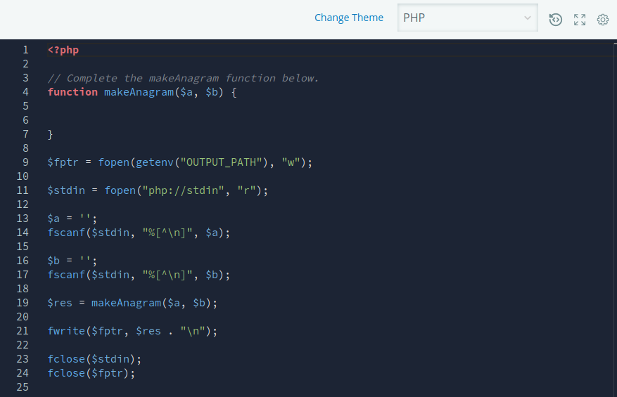 darkmode coding environment on HackerRank with black background and red, yellow and blue syntax highlighting