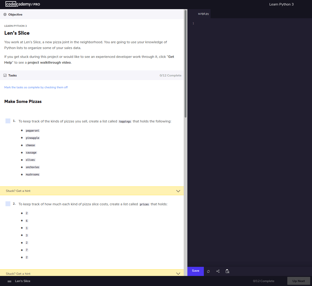 Len's Slice instructions to code a list of pizza toppings into code editor on Codecademy Pro