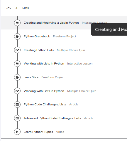 course lesson outline for lists in Python 3 on Codecademy Pro