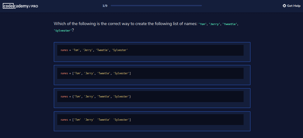 multiple choice on lists in Codecademy Pro