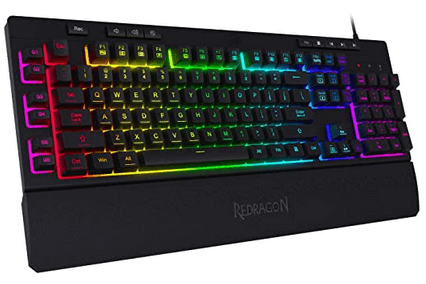 Redragon keyboard with handrest and rainbow backlit letters