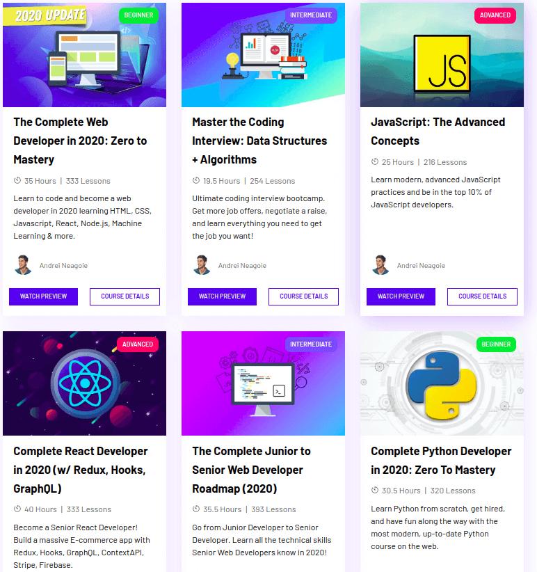 6 programming courses with thumbnails on Zero to Mastery platform