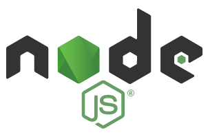 """Node.js logo black letters with green hexagon as letter """"O"""" with JS underneath"""