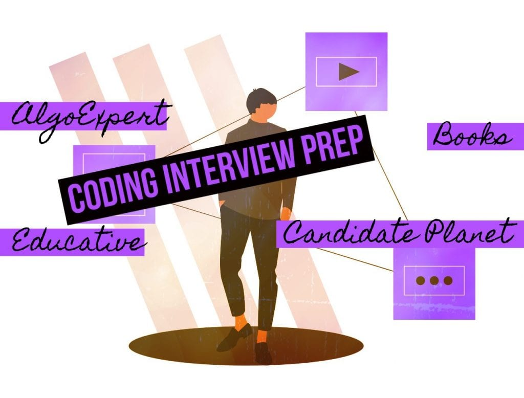 Standing person with forefront text of AlgoExpert, Educative, Books, Candidate Planet, and CODING INTERVIEW PREP