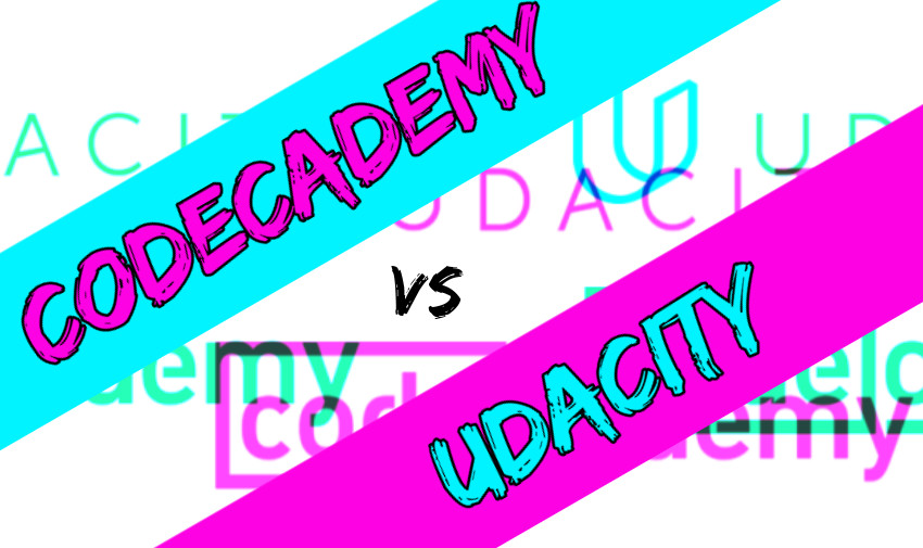 Codecademy vs Udacity in blue and pink banners with Udacity and Codecademy logos in background