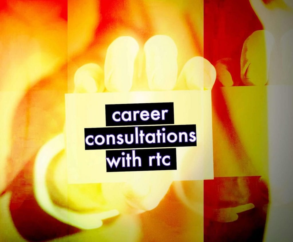 Hand holding a business card that says career consultations with realtoughcandy