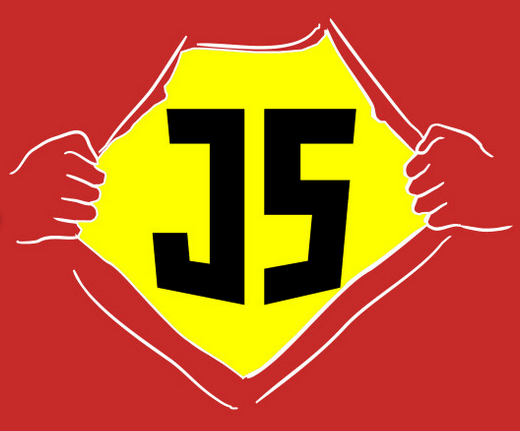 cartoon superhero hands pulling open red shirt displaying yellow JS underneathJavaScript shirts